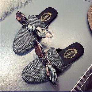 Low Heel Print Bow Flat Heel Round-toe Slipper